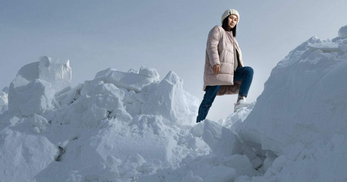 Girl Hiking in Snow